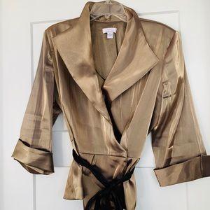Dressy chiffon shiny fabric top with black belt